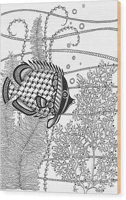 Tangle Fish II Wood Print