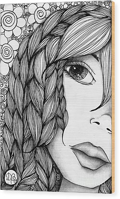 Tangle Lady Wood Print by Delein Padilla