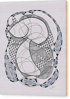 Tangle Monster Drawing Wood Print