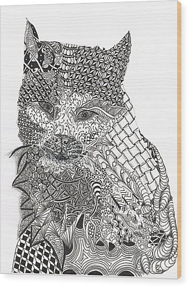 Tangled Cat Wood Print