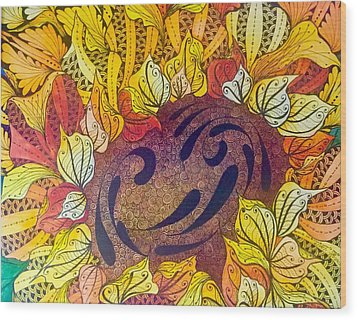 Tangled Sunflower Wood Print