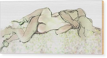 Wood Print featuring the mixed media Tangled Together - Couple In An Embrace by Carolyn Weltman
