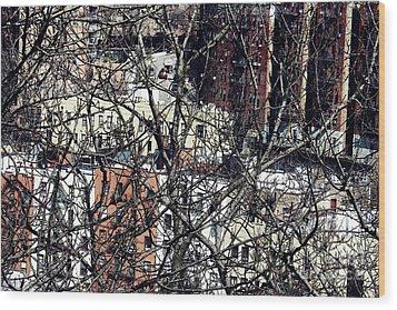 Tangled Town Wood Print by Sarah Loft