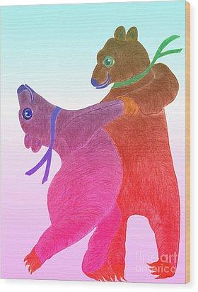 Tango Bears Wood Print by Tess M J Iroldi