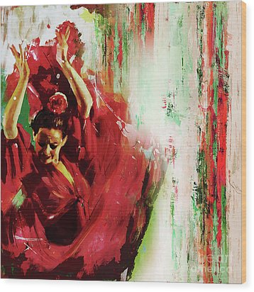 Wood Print featuring the painting Tango Dance 45g by Gull G