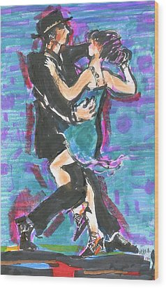 Tango J Wood Print by Mary Armstrong