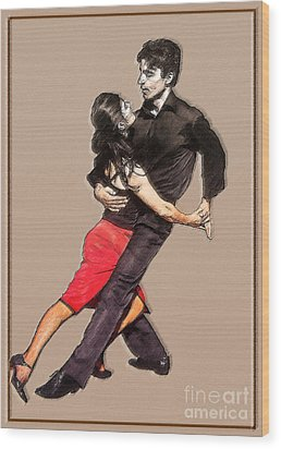 Tango Wood Print by Linda  Parker