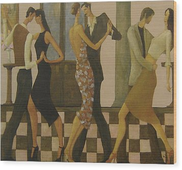 Wood Print featuring the painting Tango Night by Glenn Quist