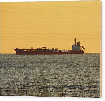 Tanker At Sunrise Wood Print