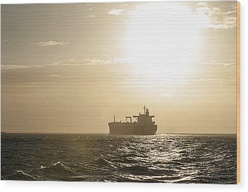 Tanker In Sun Wood Print