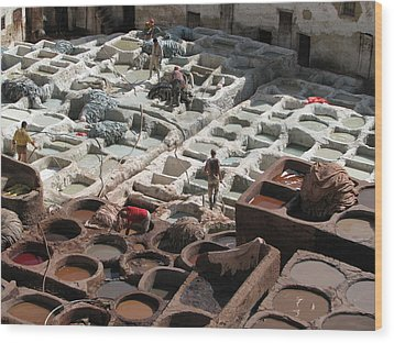 Wood Print featuring the photograph Tanneries At Fez by Erik Falkensteen