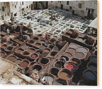 Wood Print featuring the photograph Tanneries At Fez Morocco by Erik Falkensteen