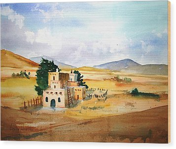 Taos Adobe Wood Print by Larry Hamilton