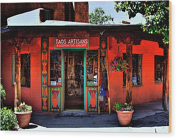 Taos Artisans Gallery Wood Print by David Patterson