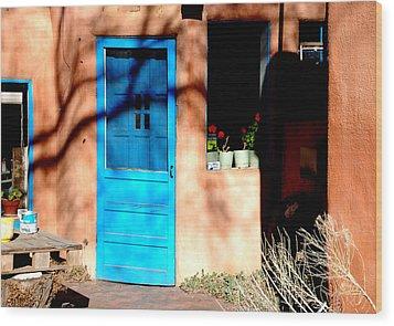 Taos Blue Door Wood Print