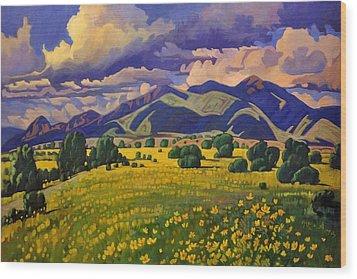 Taos Fields Of Yellow Wood Print