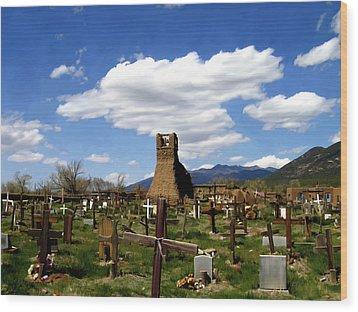 Taos Pueblo Cemetery Wood Print by Kurt Van Wagner