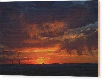 Taos Virga Sunset Wood Print by Jason Coward