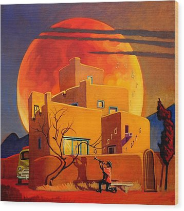 Taos Wolf Moon Wood Print by Art West
