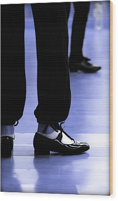 Tap Dance In Blue Are Shoes Tapping In A Dance Academy Wood Print