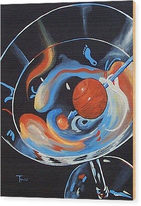 Tar Heel Martini  Wood Print by Torrie Smiley