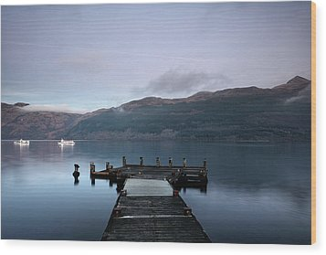 Wood Print featuring the photograph Tarbet Twilight by Grant Glendinning