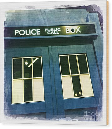 Tardis Dr Who Wood Print by Nina Prommer