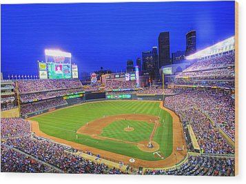 Target Field At Night Wood Print by Shawn Everhart