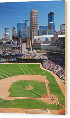 Target Field, Home Of The Twins Wood Print by James Kirkikis