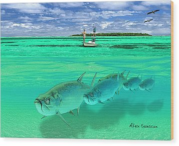 Tarpon Shot Wood Print by Alex Suescun