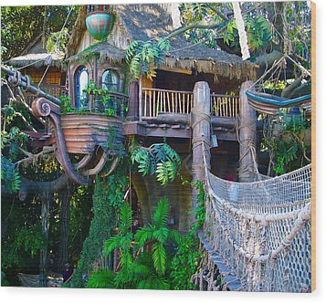 Tarzan Treehouse Wood Print by Karon Melillo DeVega