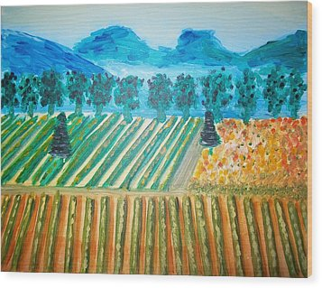 Taste The Vineyard Wood Print by Alexandra Torres