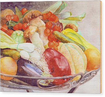 Wood Print featuring the painting Tastes Of Tuscany by Bonnie Rinier