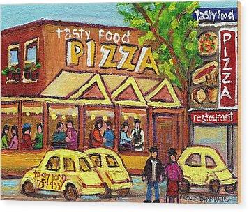 Tasty Food Pizza On Decarie Blvd Wood Print by Carole Spandau
