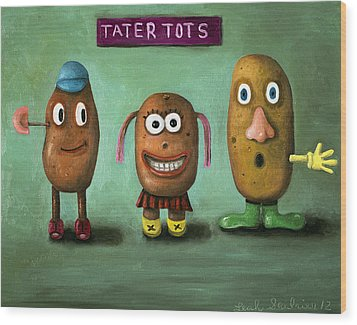 Tater Tots Wood Print by Leah Saulnier The Painting Maniac