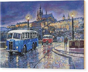 Tatra 85-91bus 1938 Praha Rnd Bus 1950 Prague Manesuv Bridge Wood Print by Yuriy Shevchuk