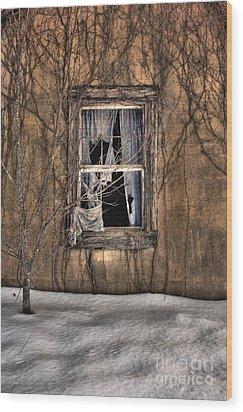 Tattered Curtain In Snow 2010 Wood Print by Sari Sauls