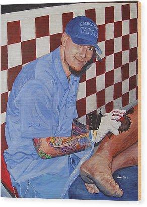 Tattoo Artist - Brandon Notch Wood Print by Quwatha Valentine