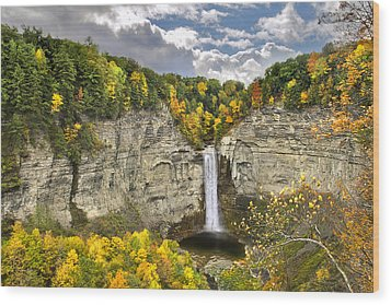 Taughannock Falls Autumn Wood Print by Christina Rollo