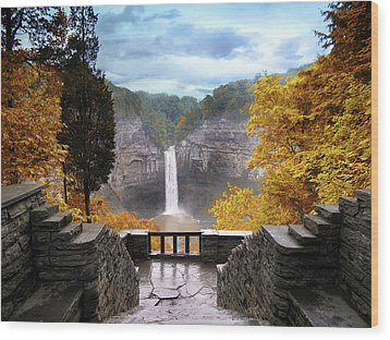 Taughannock In Autumn Wood Print