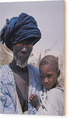 Taureg Father And Son In Senegal Wood Print by Carl Purcell