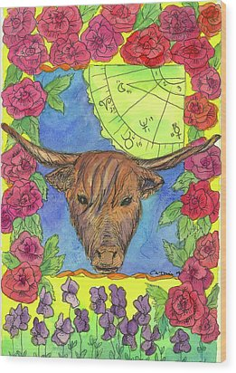 Wood Print featuring the painting Taurus by Cathie Richardson