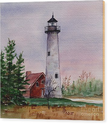 Tawas Point Light Wood Print