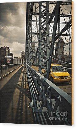Taxi Crossing Smithfield Street Bridge Pittsburgh Pennsylvania Wood Print by Amy Cicconi