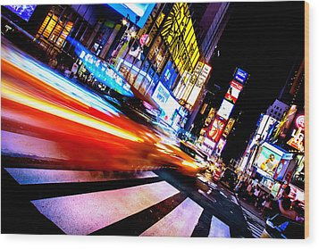 Taxis In Times Square Wood Print by Az Jackson