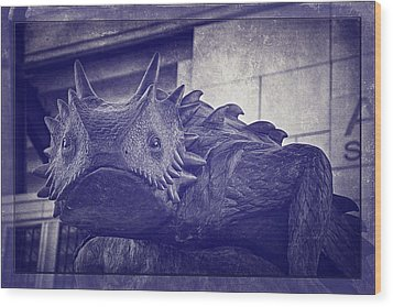 Tcu Horned Frog Purple Wood Print by Joan Carroll