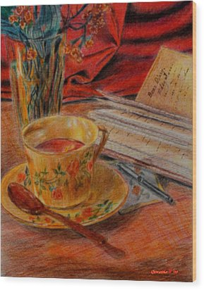 Tea And Diary Wood Print by Quwatha Valentine