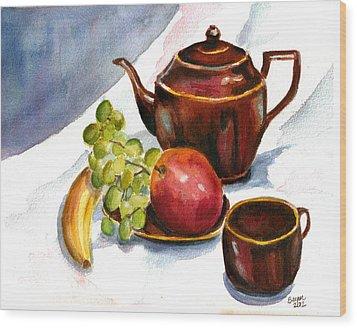 Tea And Fruit Wood Print