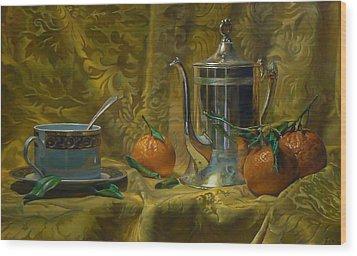 Tea And Oranges Wood Print by Jeffrey Hayes