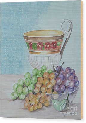 Tea Cup And Grapes Wood Print by Janna Columbus